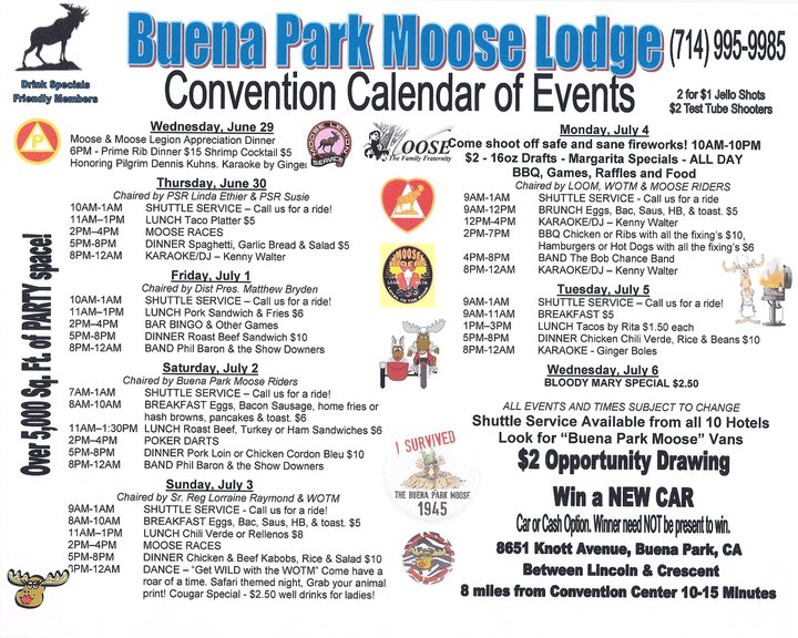 Moose lodge schedule